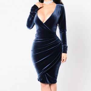 Fashion Nova Deep V Ruched Velvet Dress